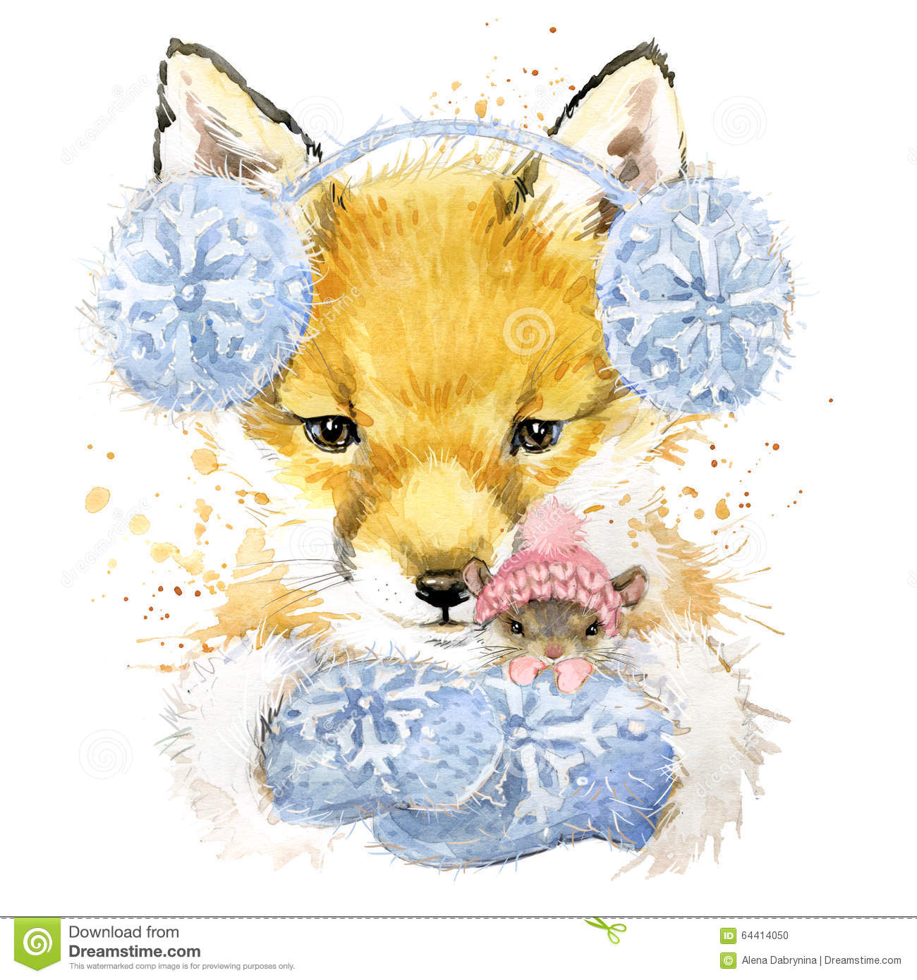 Fall Textured Wallpaper Cute Fox T Shirt Graphics Watercolor Fox And Mouse