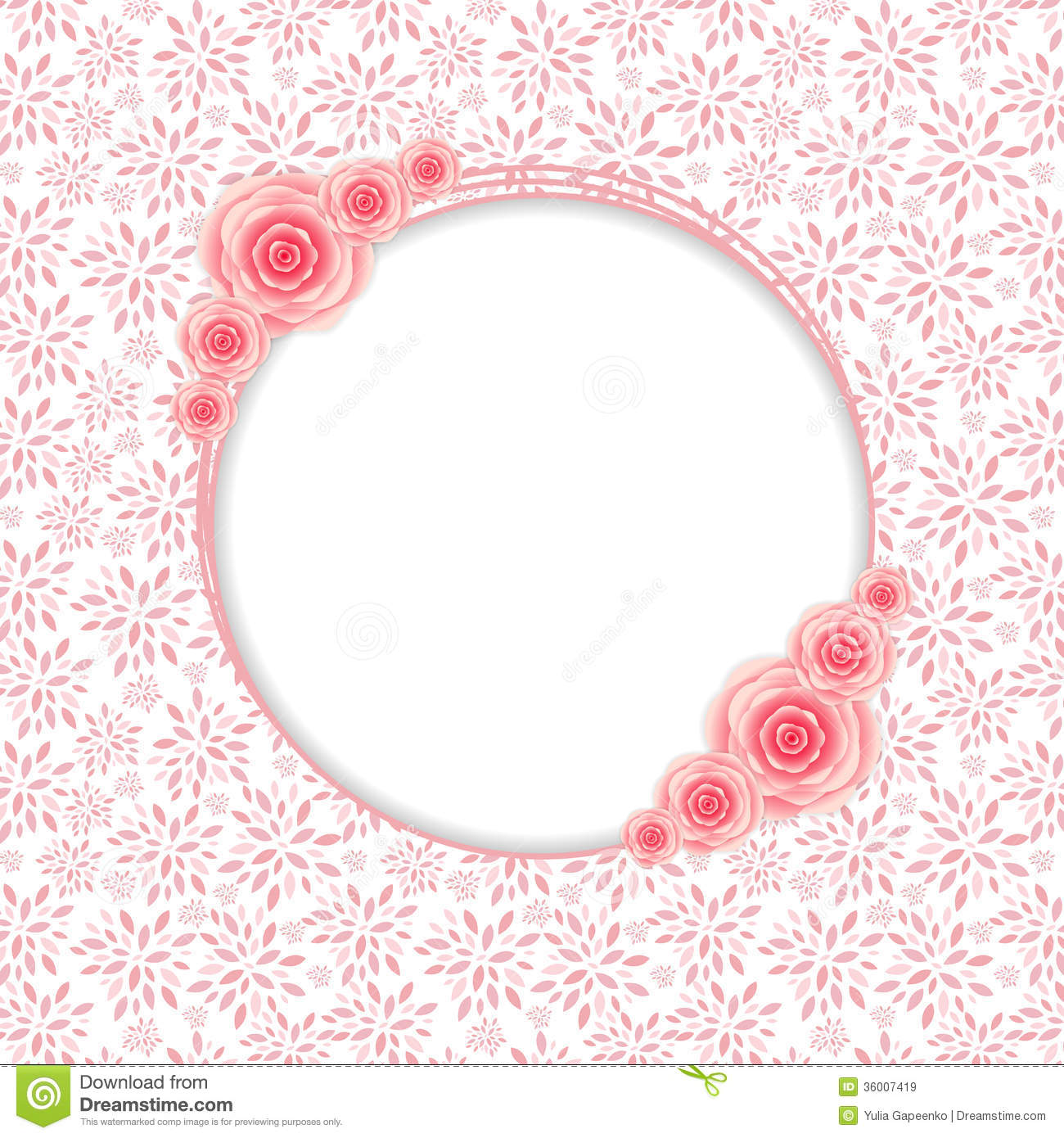 3d Love Red Heart Wallpaper Cute Frame With Rose Flowers Vector Illustration Royalty