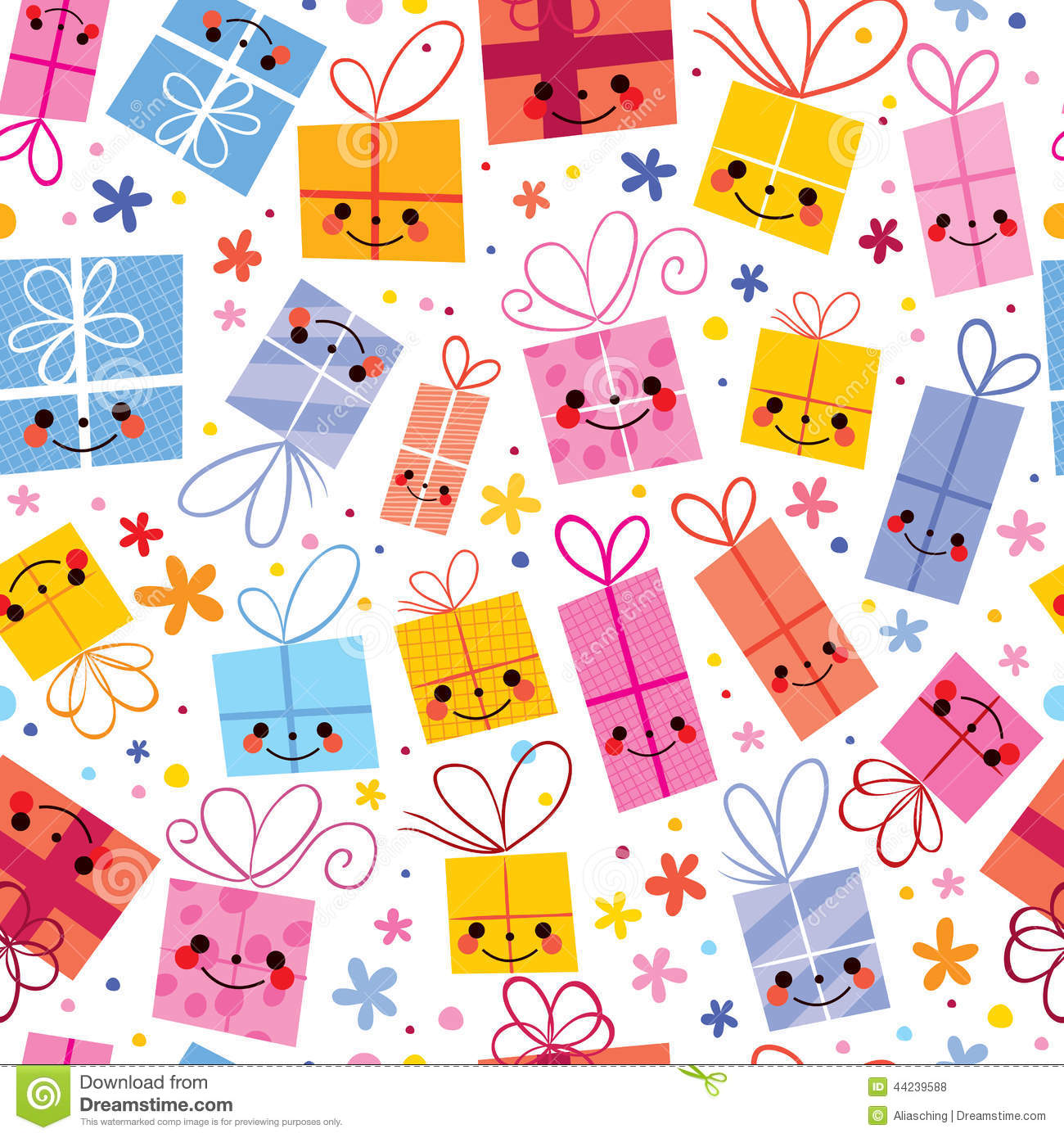 3d Cartoon Girl Wallpapers Cute Gifts Wrapping Paper Seamless Pattern Stock Vector