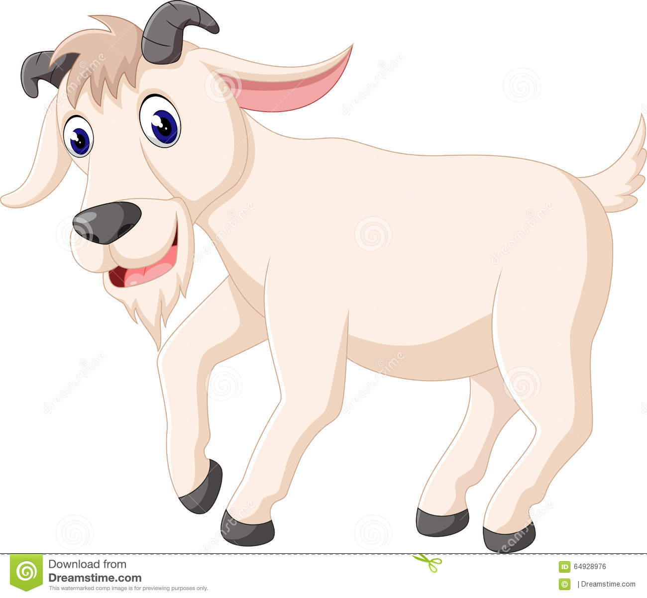 Cute Goat Clipart Cute Goat Cartoon Stock Vector Image 64928976