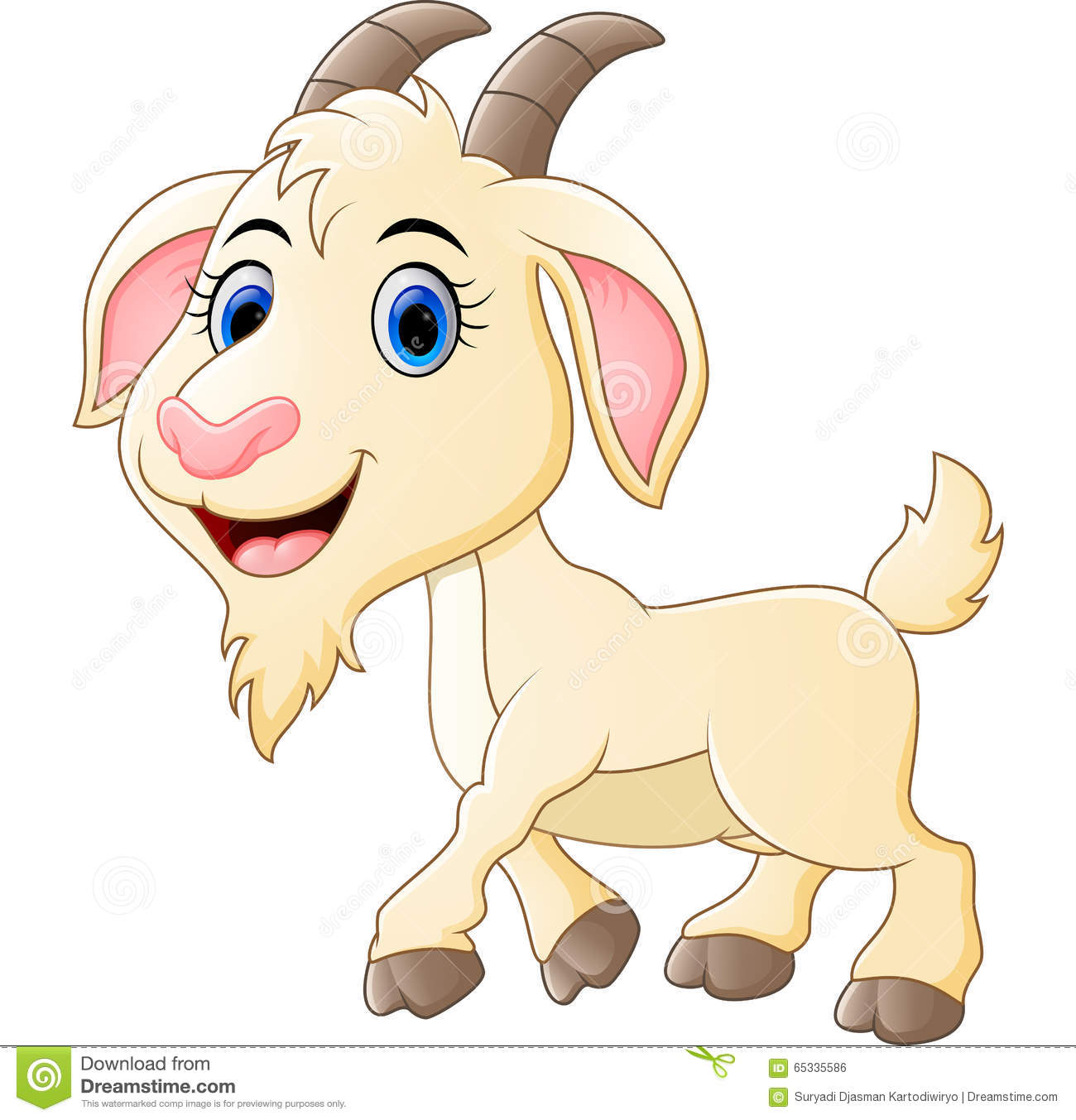 Cute Goat Clipart Cute Goat Cartoon Stock Vector Image 65335586