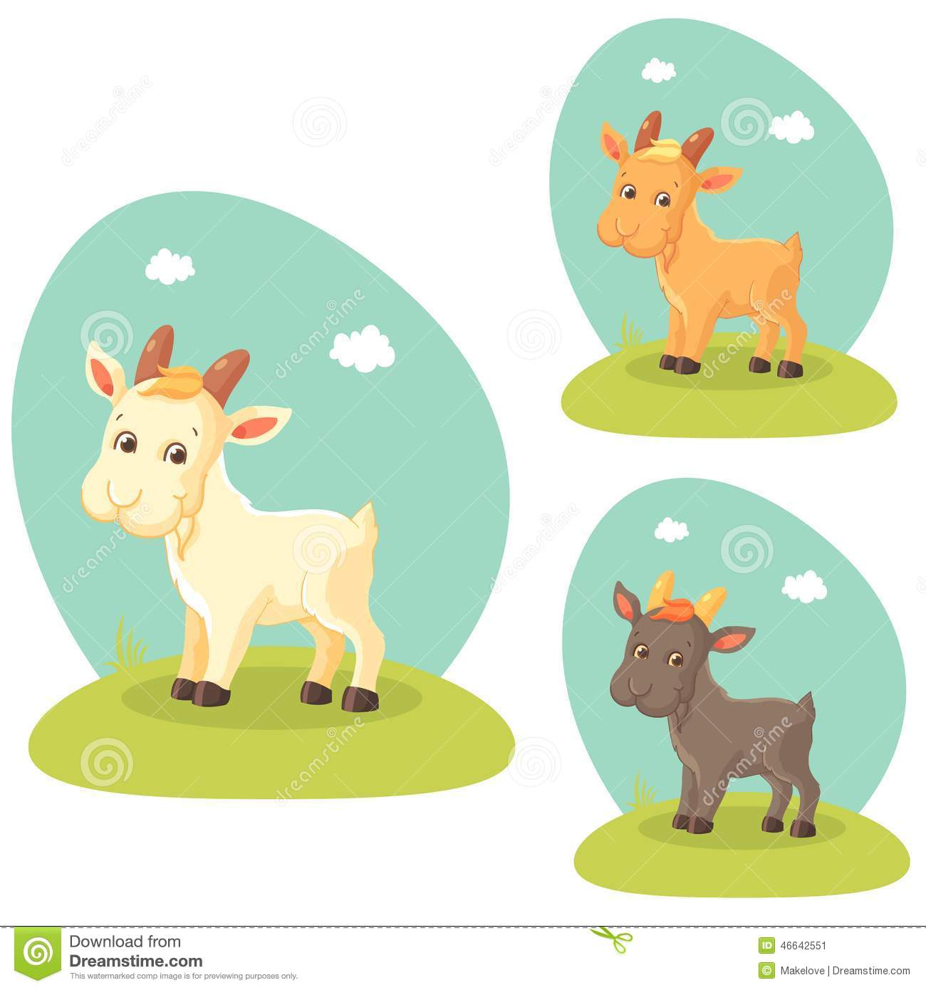 Cute Goat Clipart Cute Goat Stock Vector Image 46642551