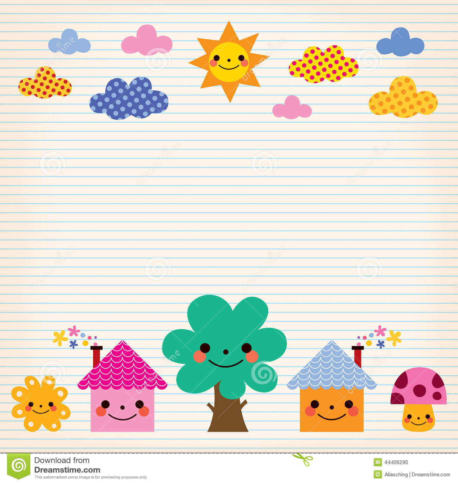 Cute Kid Wallpapers Free Download Cute Houses Tree Sun Mushroom Clouds Kids Lined Paper