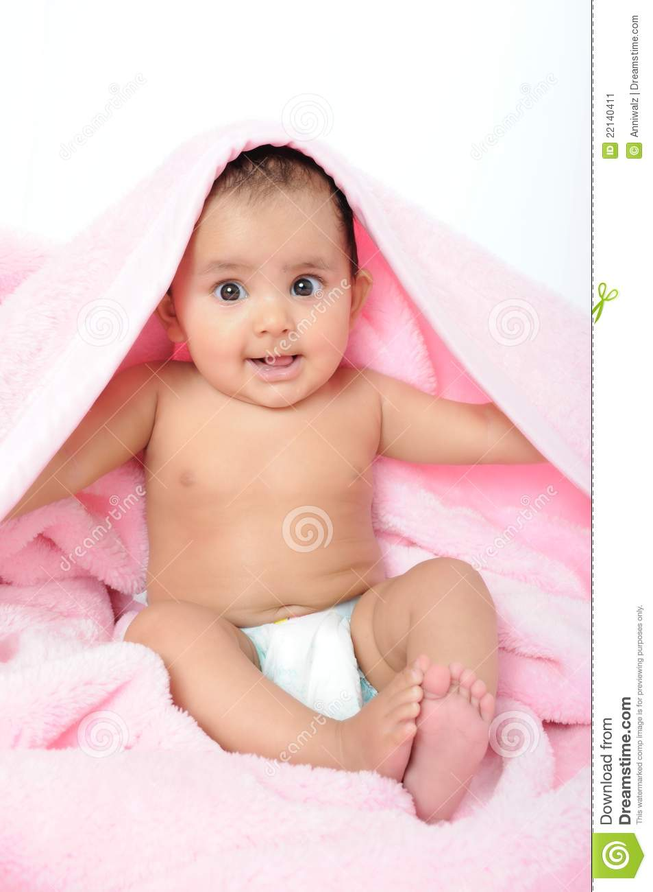 Sweet Small Girl Hd Wallpaper Cute Indian Baby Kid Sitting With A Blanket Stock Image