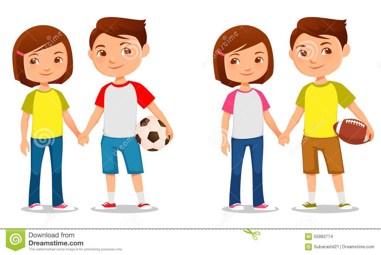 Cute Twin Baby Boy And Girl Wallpapers Cute Kids Holding Hands Stock Vector Image 55983774