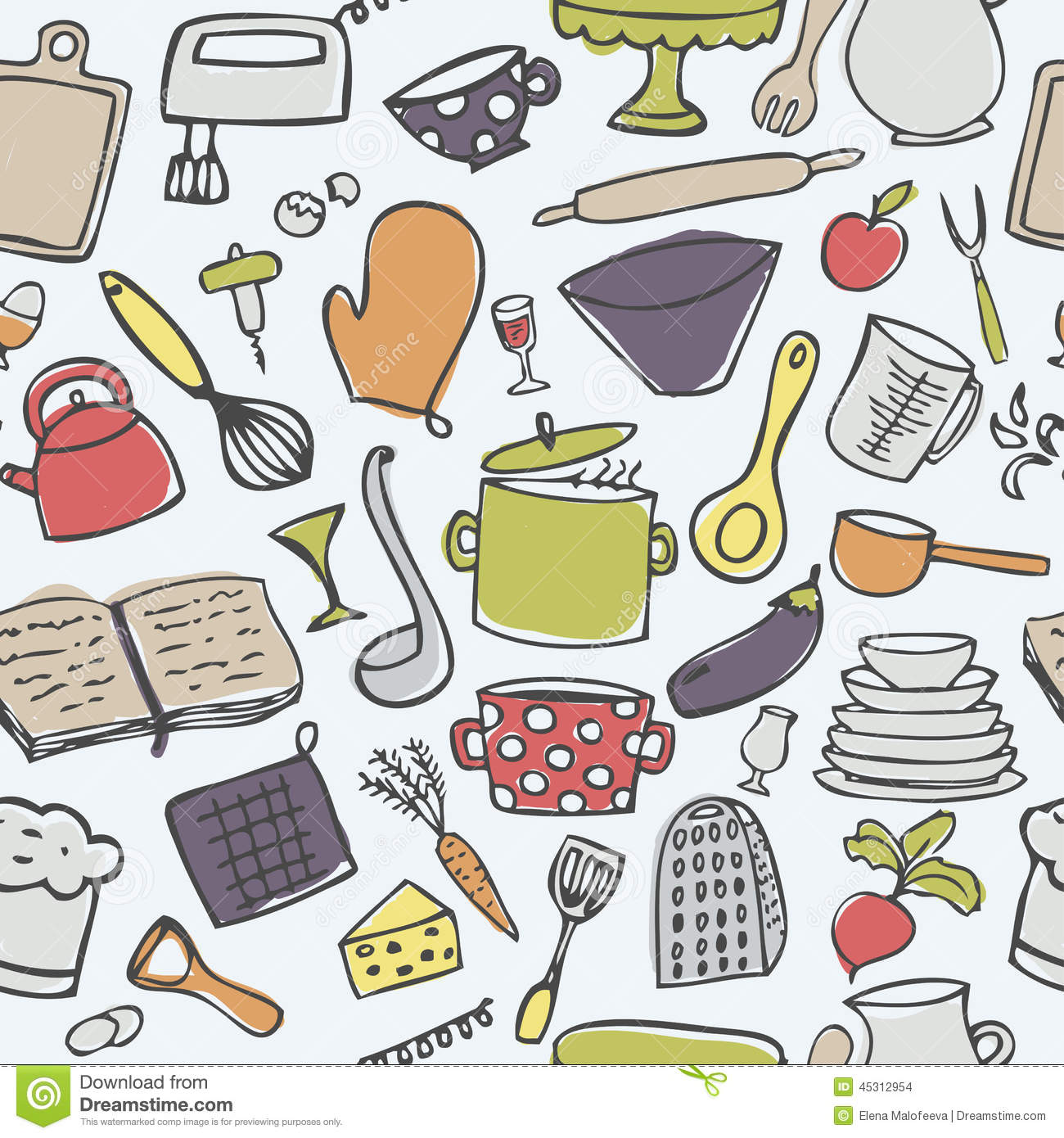 Cliparts Küche Gratis Cute Kitchen Seamless Vector Pattern Stock Vector