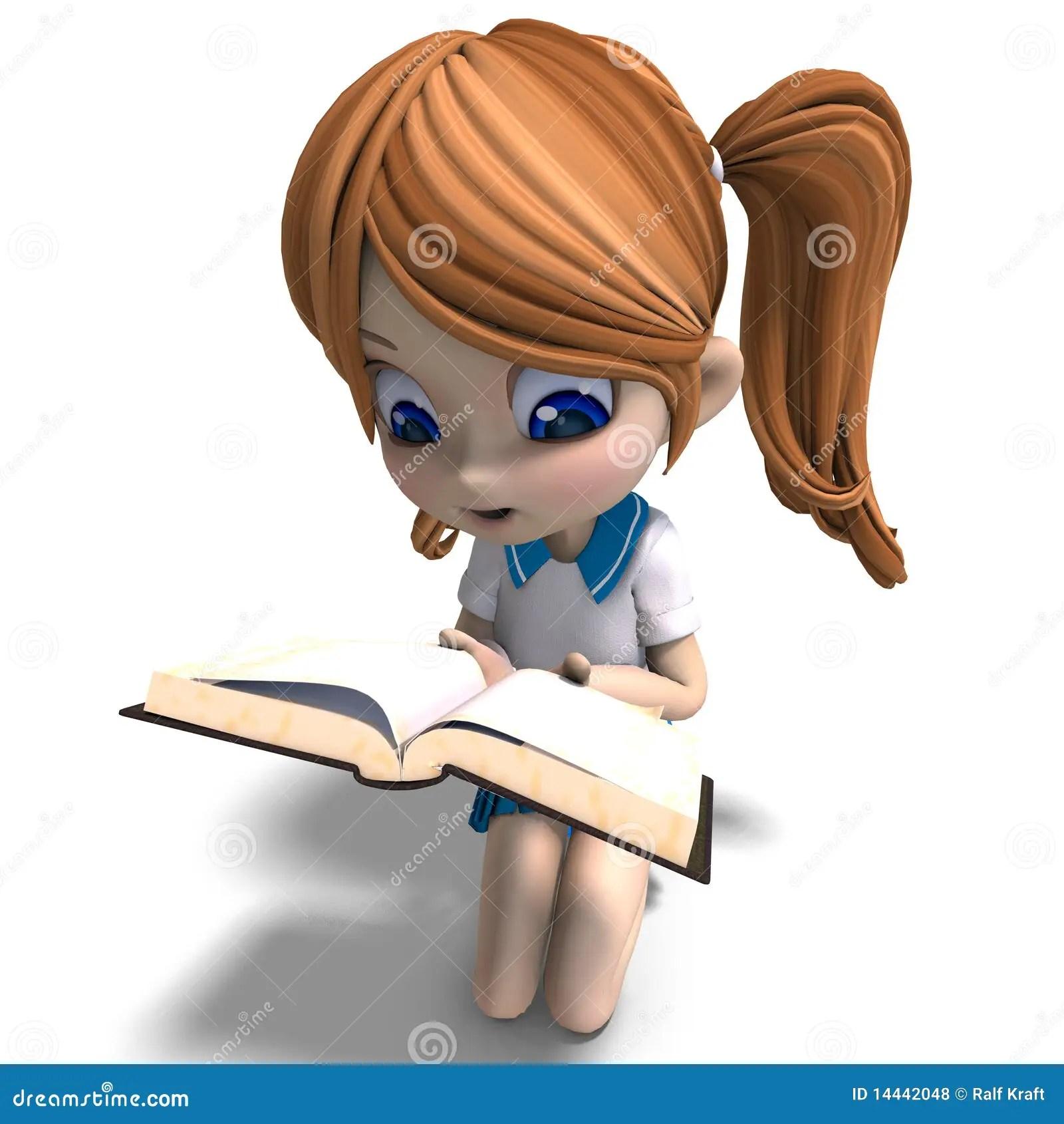 Cute Small Baby Girl Wallpapers Cute Little Cartoon School Girl Reads A Book 3d Stock