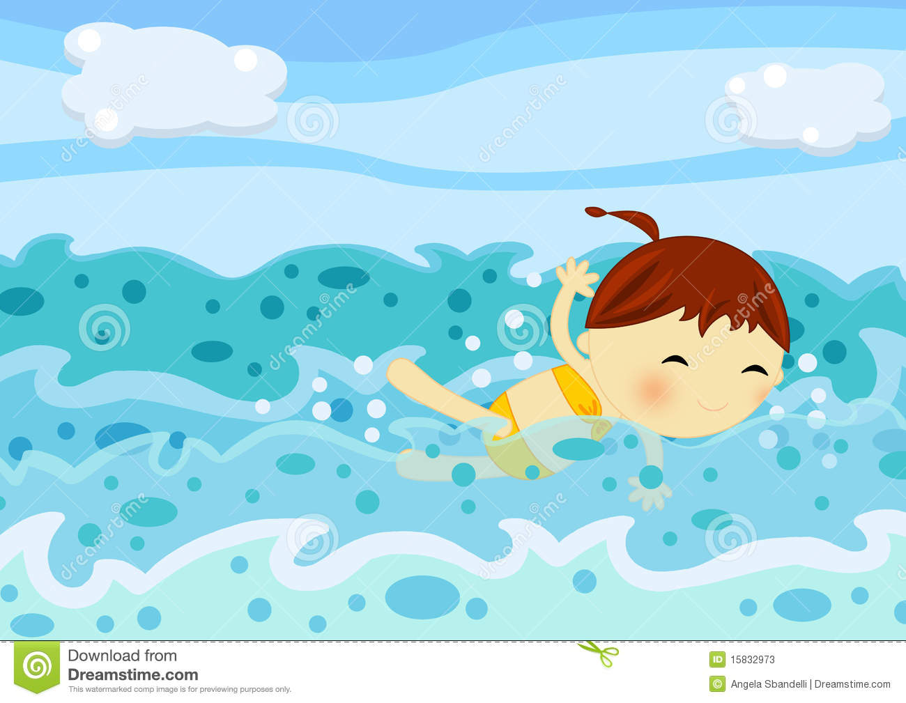 Wave Piscina Cute Little Girl Swimming Among The Sea Waves Stock