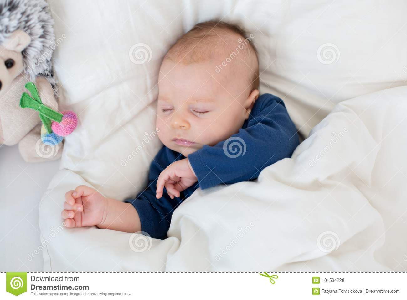 Newborn Infant With Fever Cute Newborn Baby Boy Lying In Bed With Cold Stock Photo