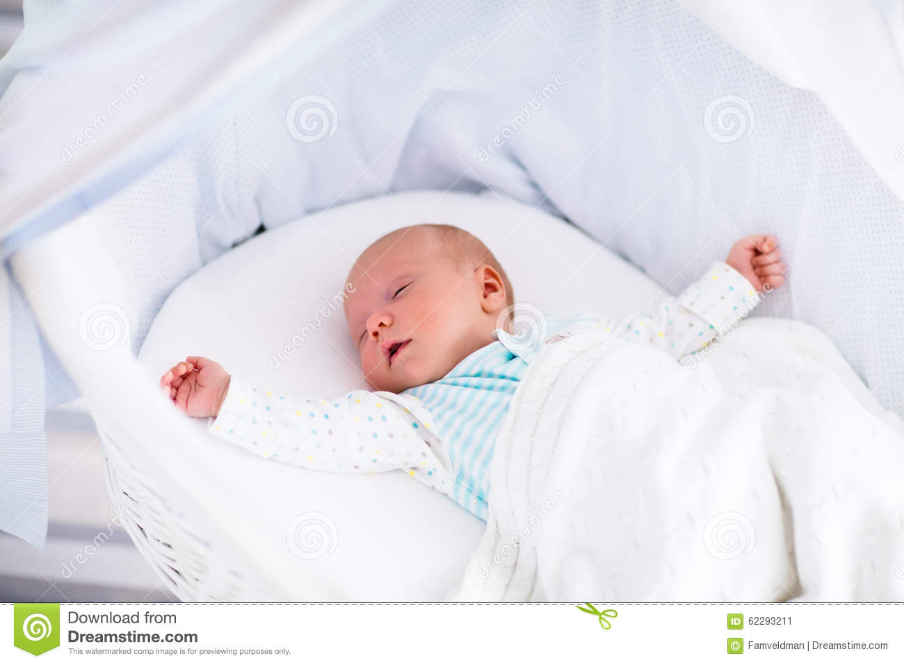 Newborn Bassinet Bedding Cute Newborn Baby In White Bed Stock Image Image Of