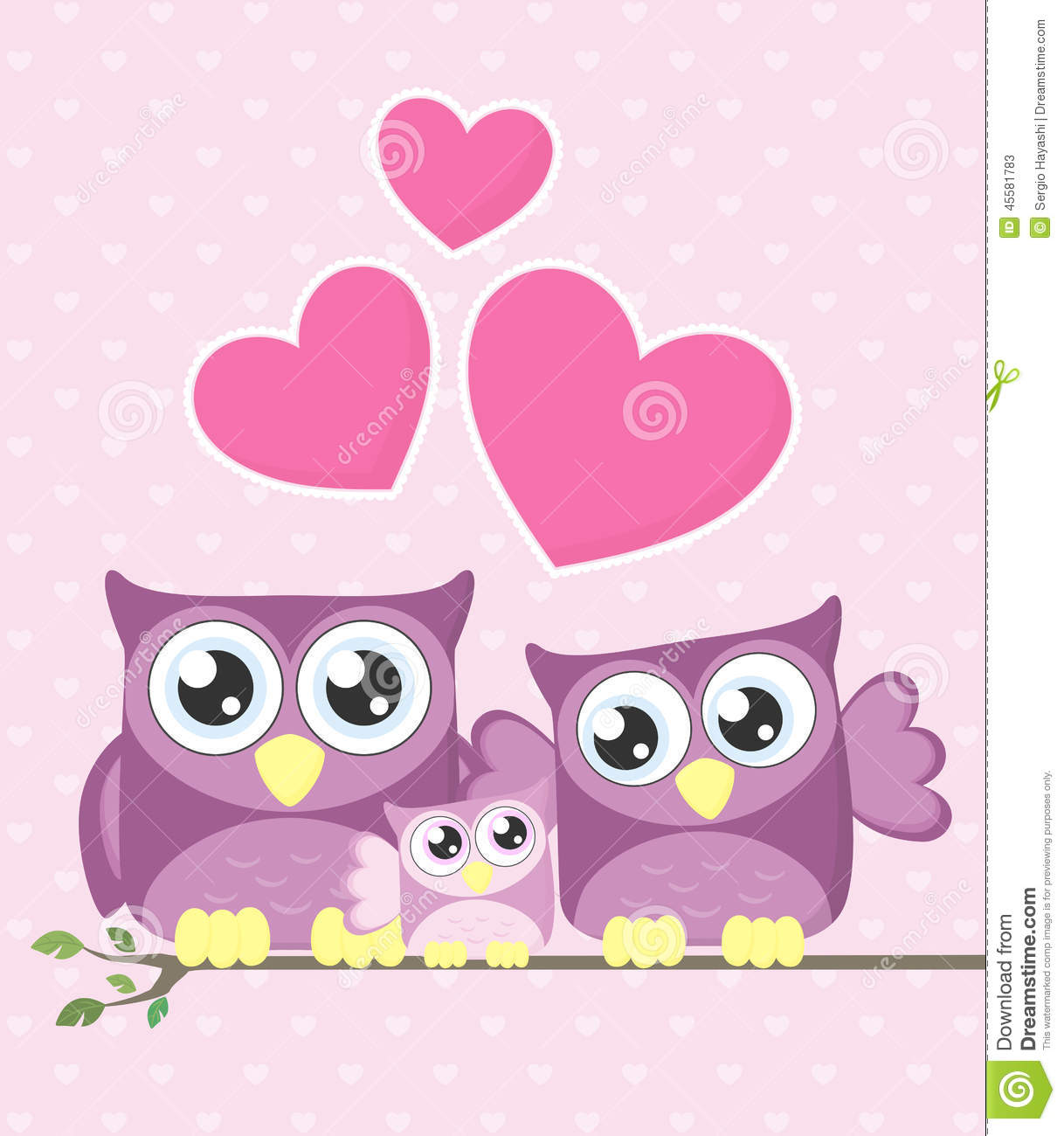 Cute Baby Girl Swing Hd Wallpaper Cute Owls Family Stock Vector Image Of Clipart Branch