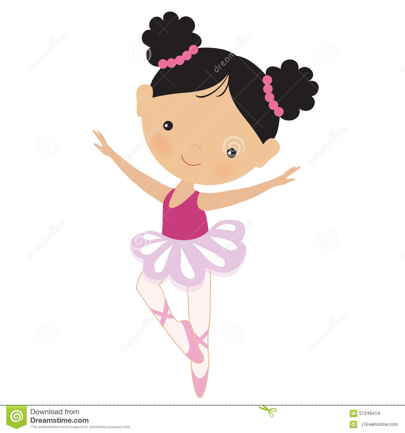 Cute Baby Girl Child Wallpaper Cute Pink Ballerina Vector Illustration Stock Vector