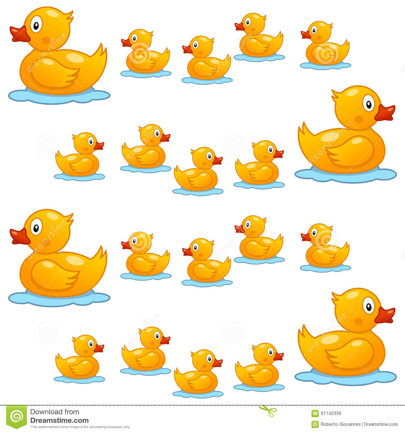 Cute Ducks In Water Wallpaper Rubber Duck Family Seamless Pattern Stock Vector Image