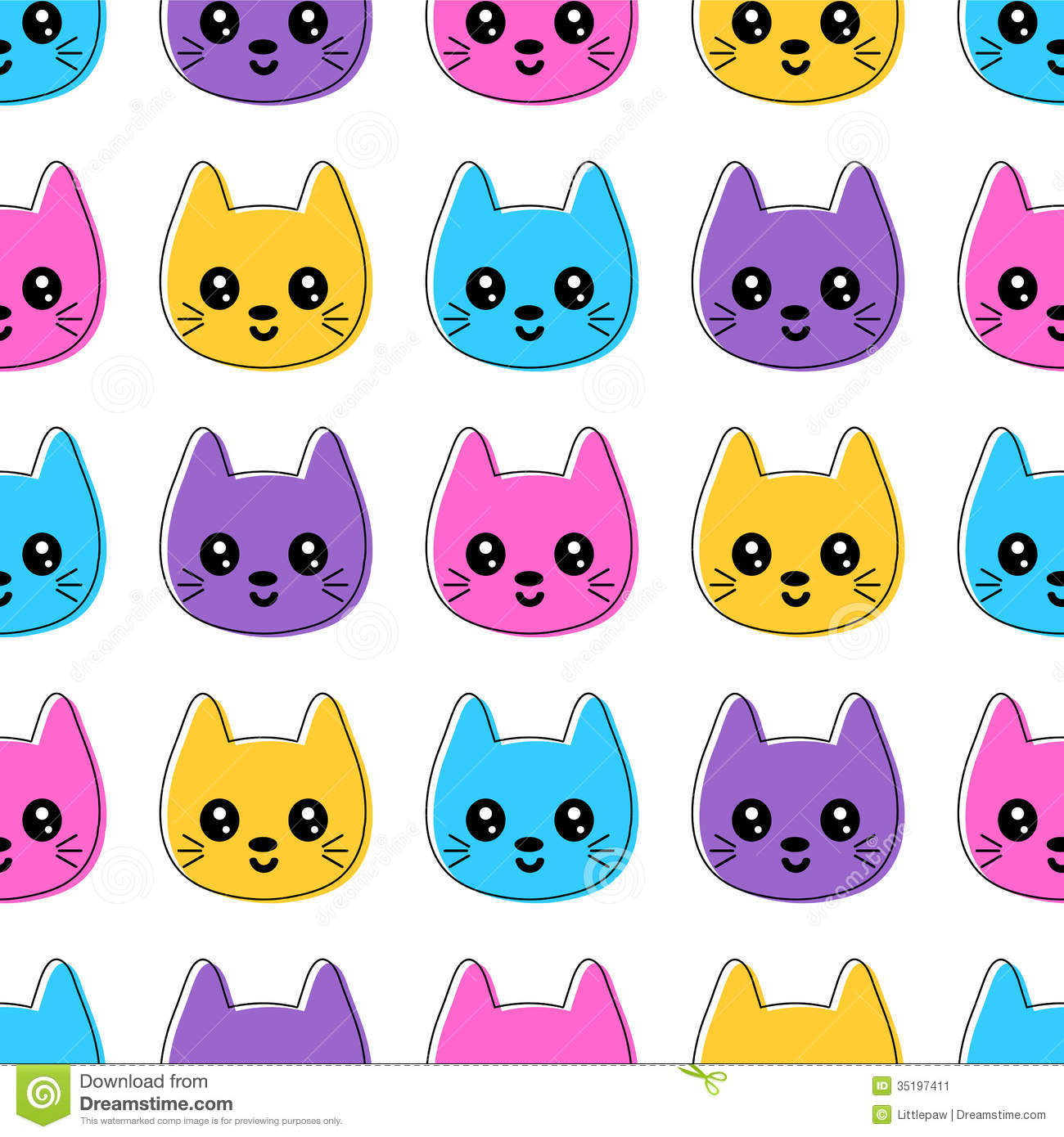 Cute Animal Print Wallpaper Cute Seamless Pattern With Colorful Cat Faces Stock Image
