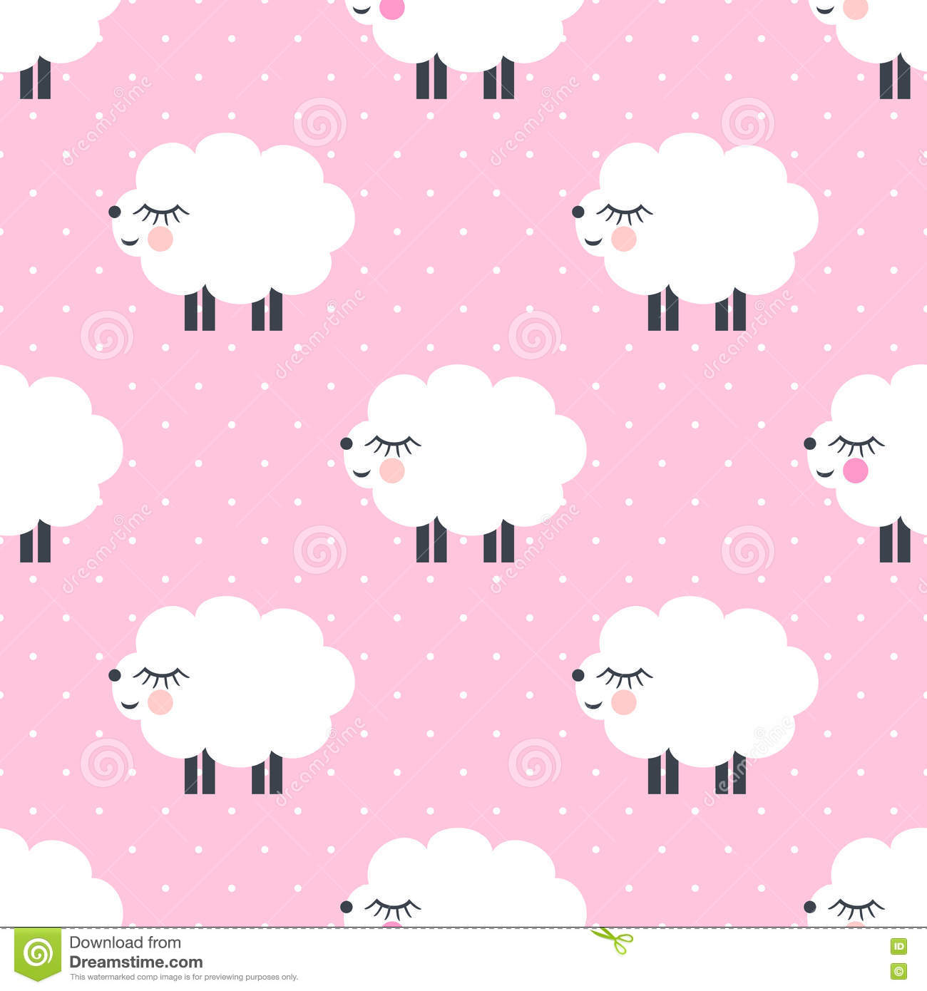 Cute Sheep Drawing Tumblr Cute Sheep Seamless Pattern On Pink Polka Dots Background