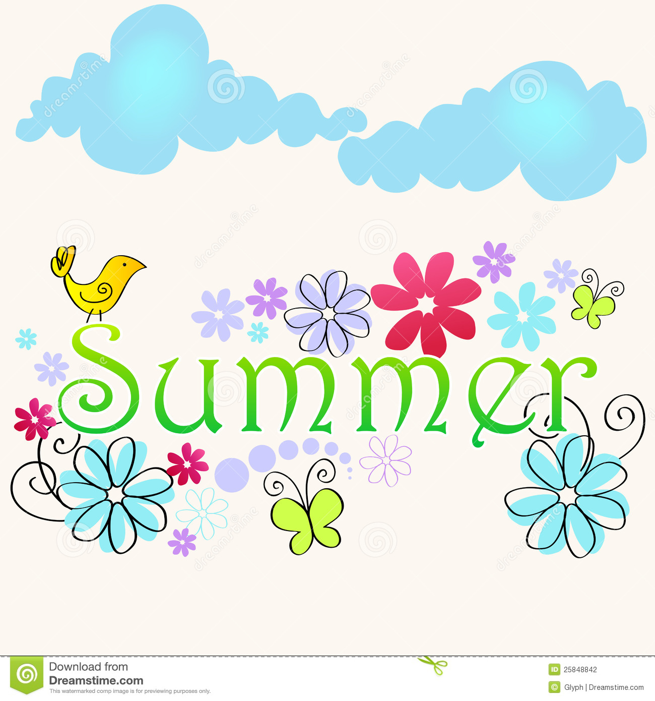 Iphone 5 Wallpaper Floral Cute Summer Text Illustration With Bird Stock Vector
