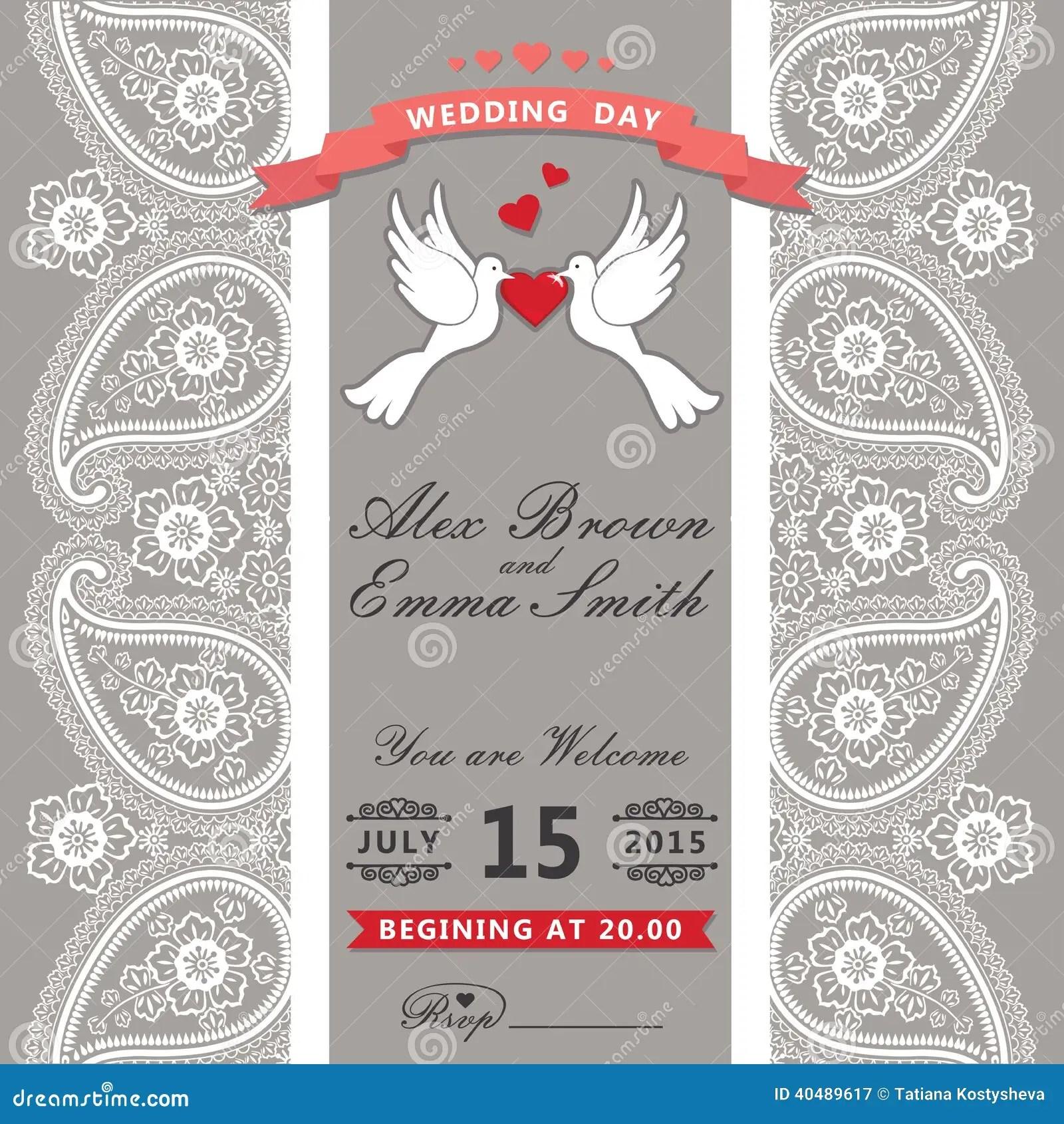 Cute Wedding Cartoon Wallpaper Cute Wedding Invitation Paisley Border Lace Cartoon