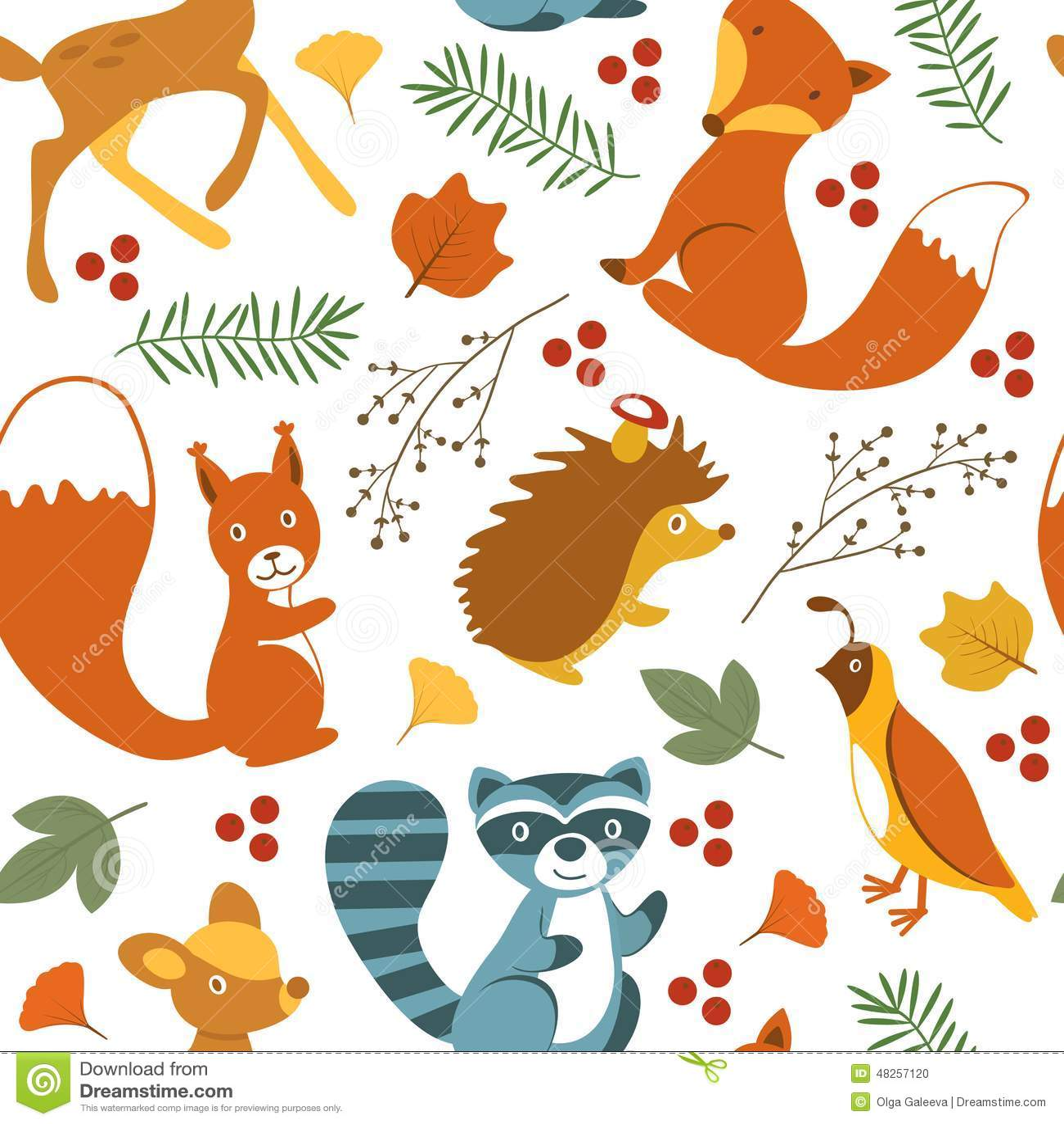 Fall Woodland Creatures Wallpaper Cute Woodland Animals Pattern Stock Vector Illustration