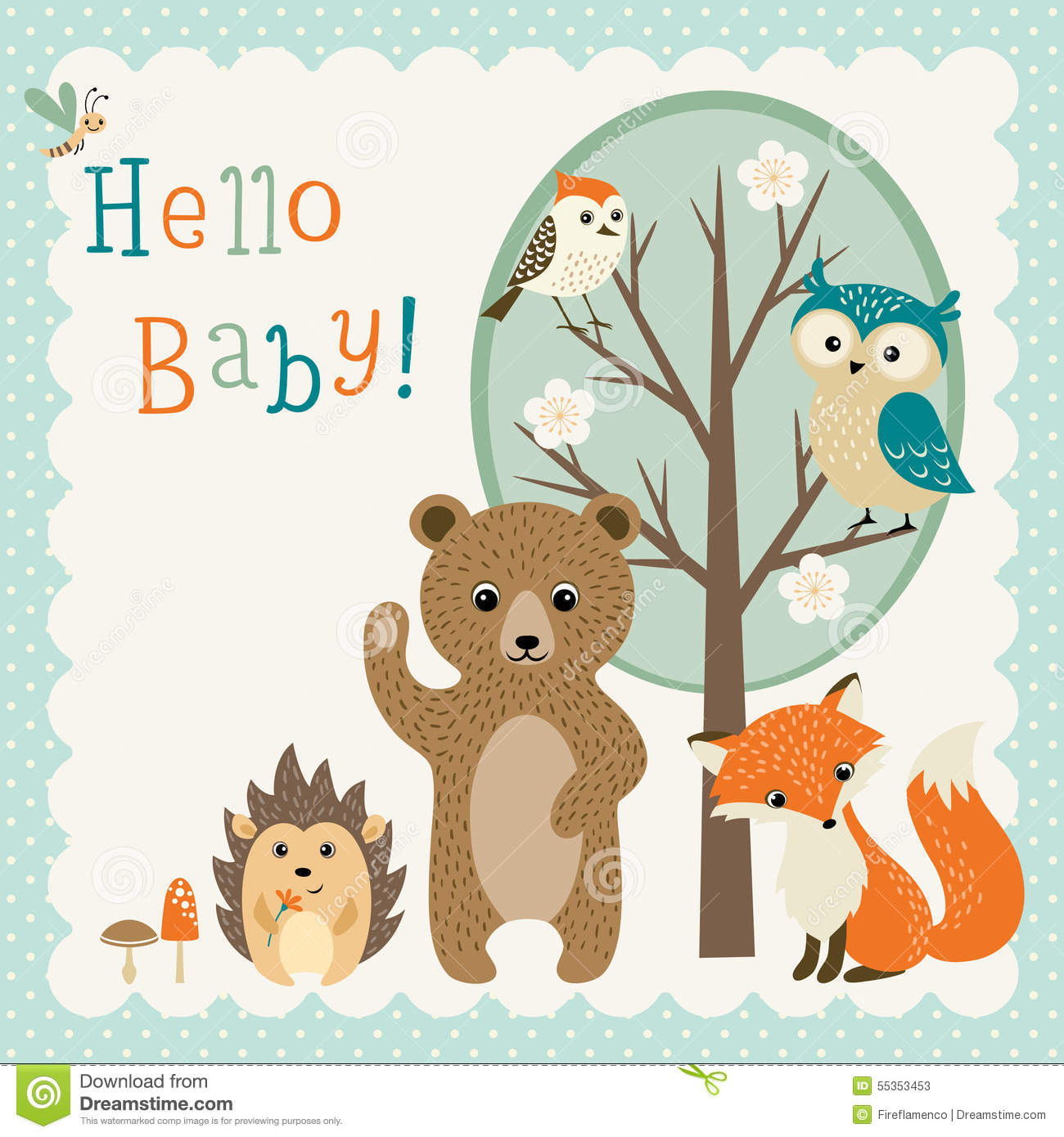 Baby Girl Nursery Wallpaper Borders Cute Woodland Friends Baby Shower Stock Vector Image