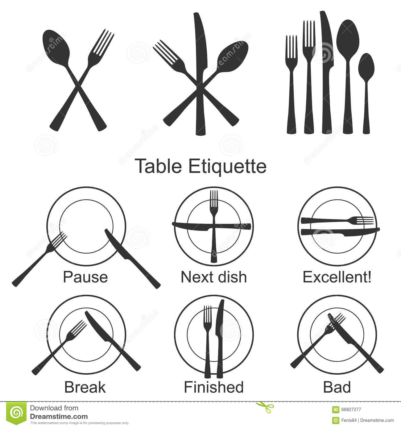 Posizione Posate Galateo Cutlery And Signs Of Table Etiquette Stock Vector