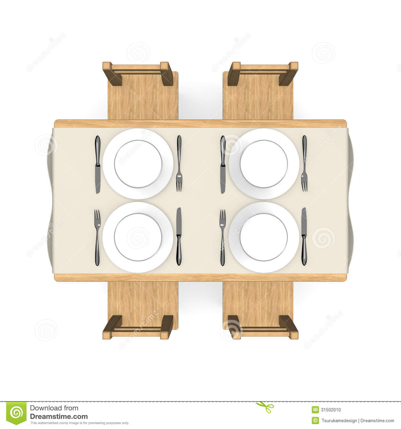 Big W Outdoor Table And Chairs Cutlery On Wooden Dining Table Top View Stock Illustration