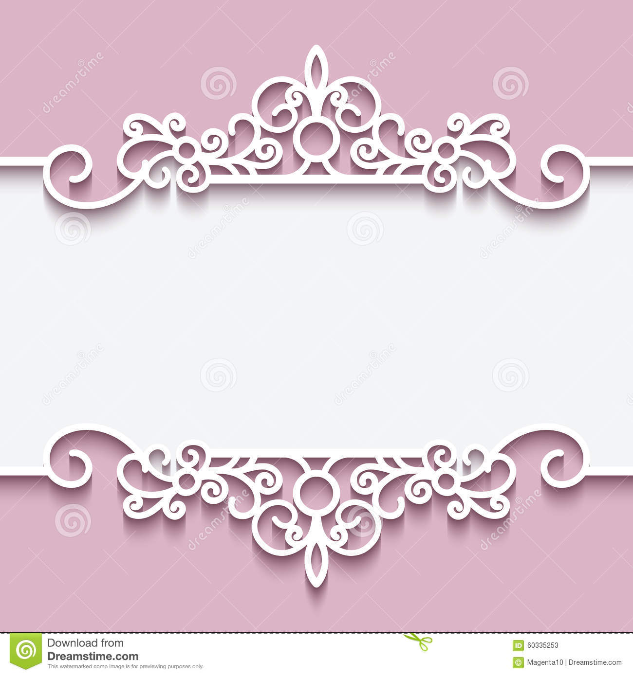 Invitation Card For Wedding Layout Cutout Paper Lace Frame Stock Vector - Image: 60335253