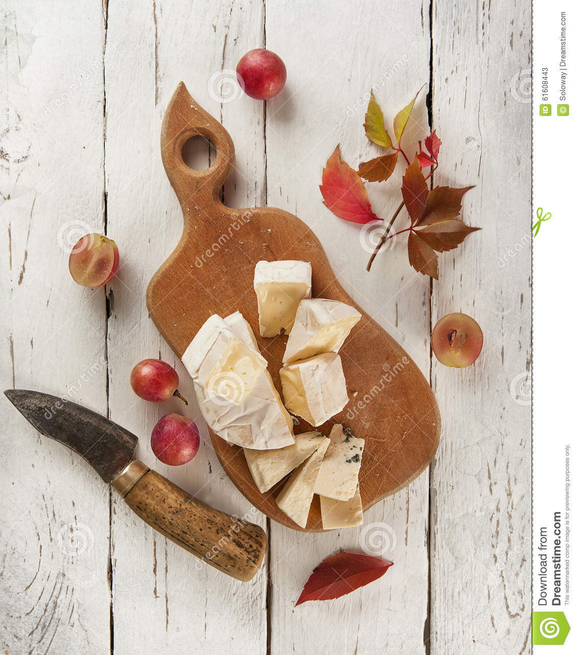 Different Types Of Cutting Boards Cutting Board With Different Kinds Of Cheeses Stock Photo