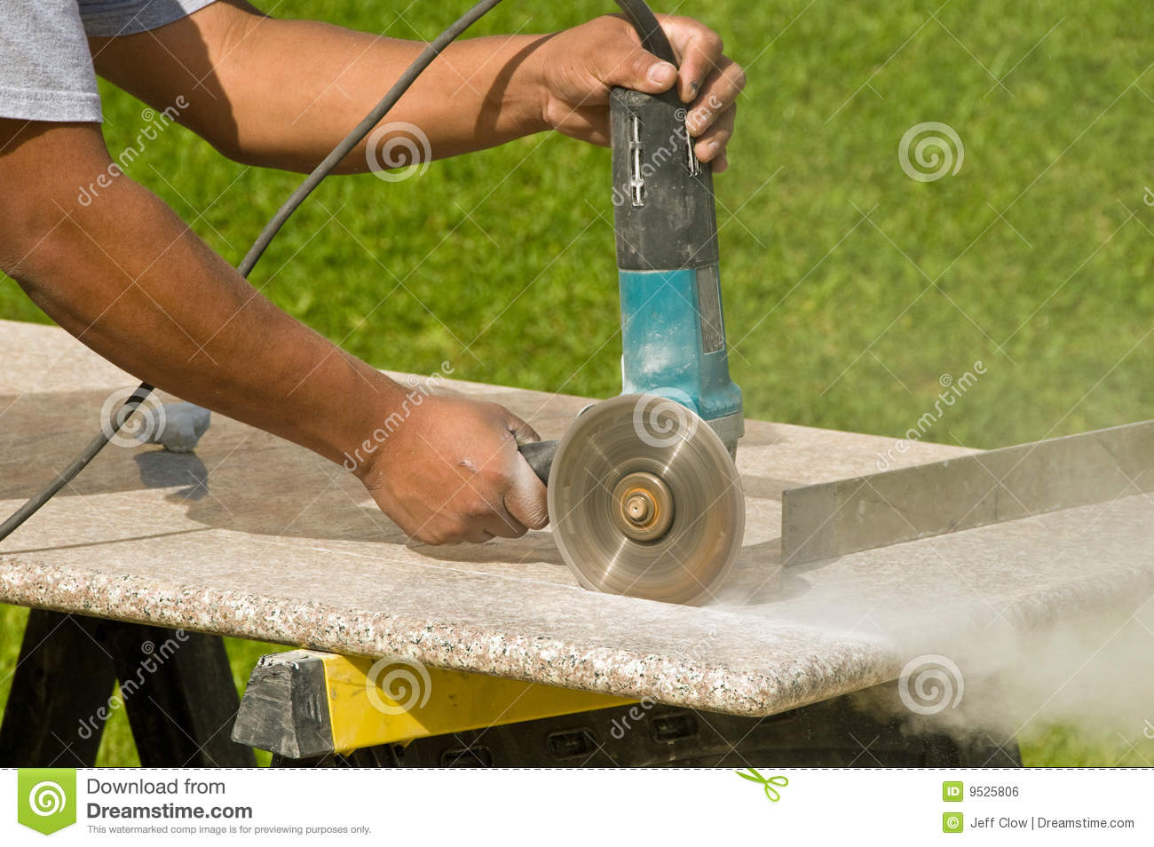 Cutting Granite Countertops Stock Photo Image Of Working Work 9525806