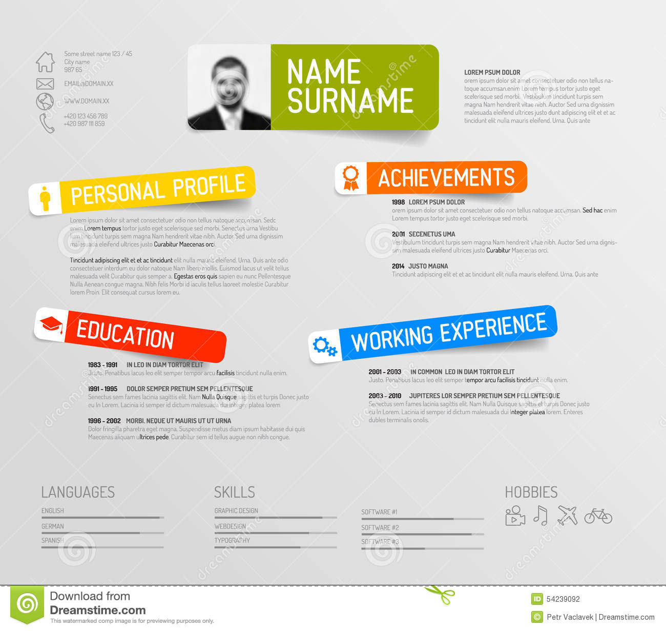 Resume Design Template Free Download 30 Best Free Resume Templates In Psd Ai Word Docx Cv Resume Template Stock Illustration Image 54239092