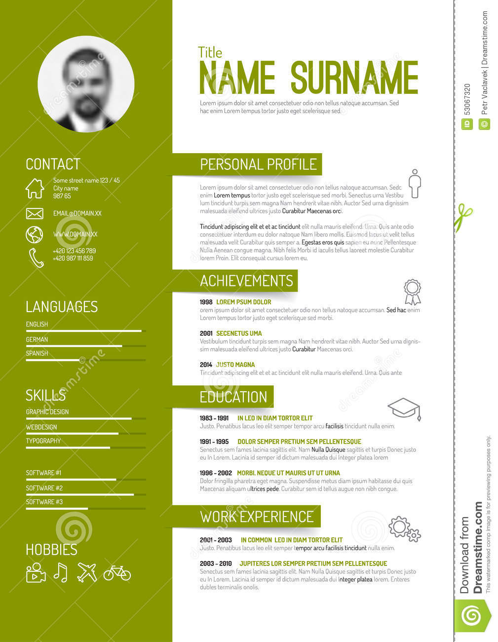 Auto Mechanic Cv Template Format Resume Now Cv Resume Template Stock Vector Image 53067320