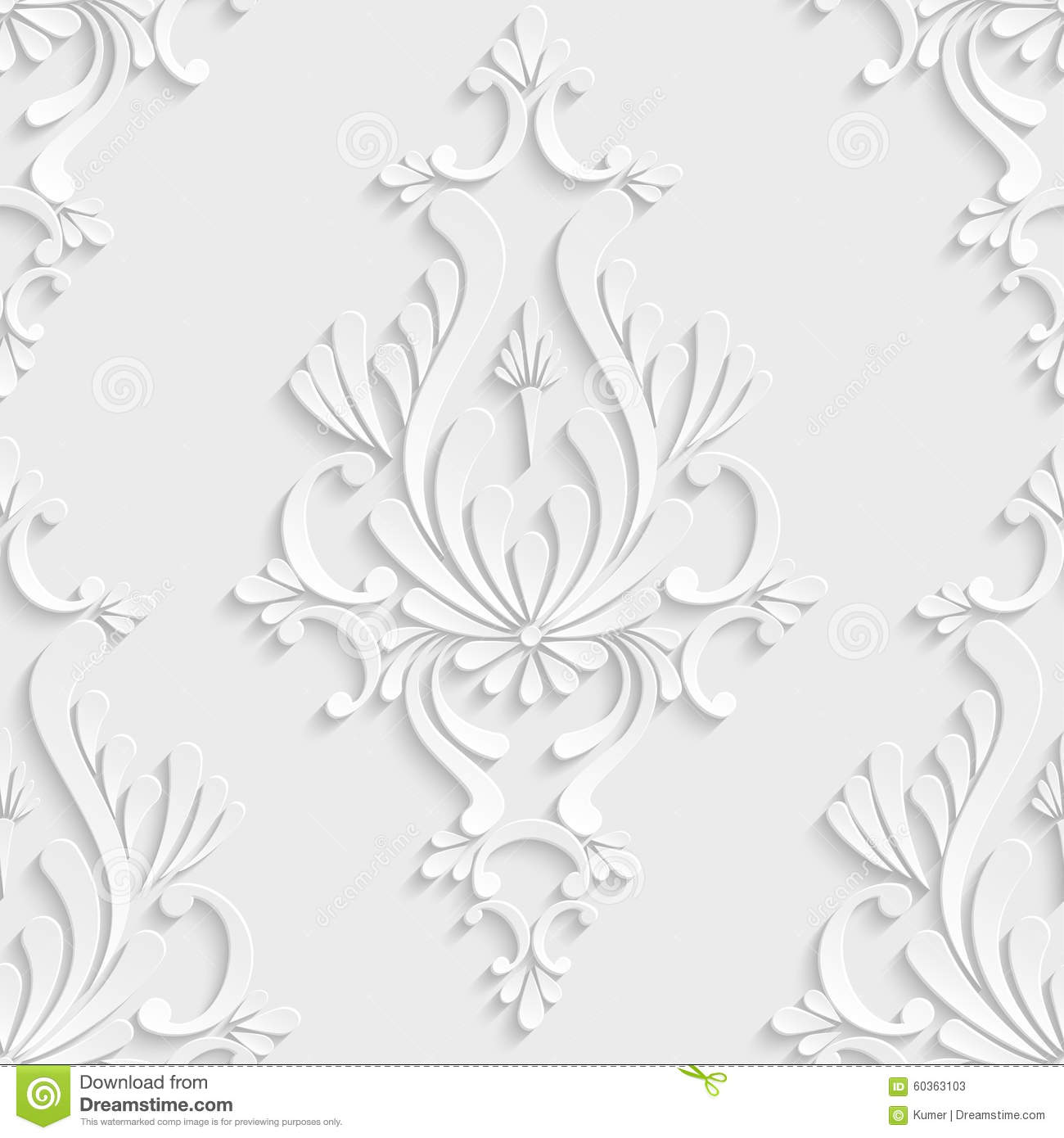 As Royal Decor 3d Wallpaper 3d Floral Damask Seamless Pattern Stock Vector Image