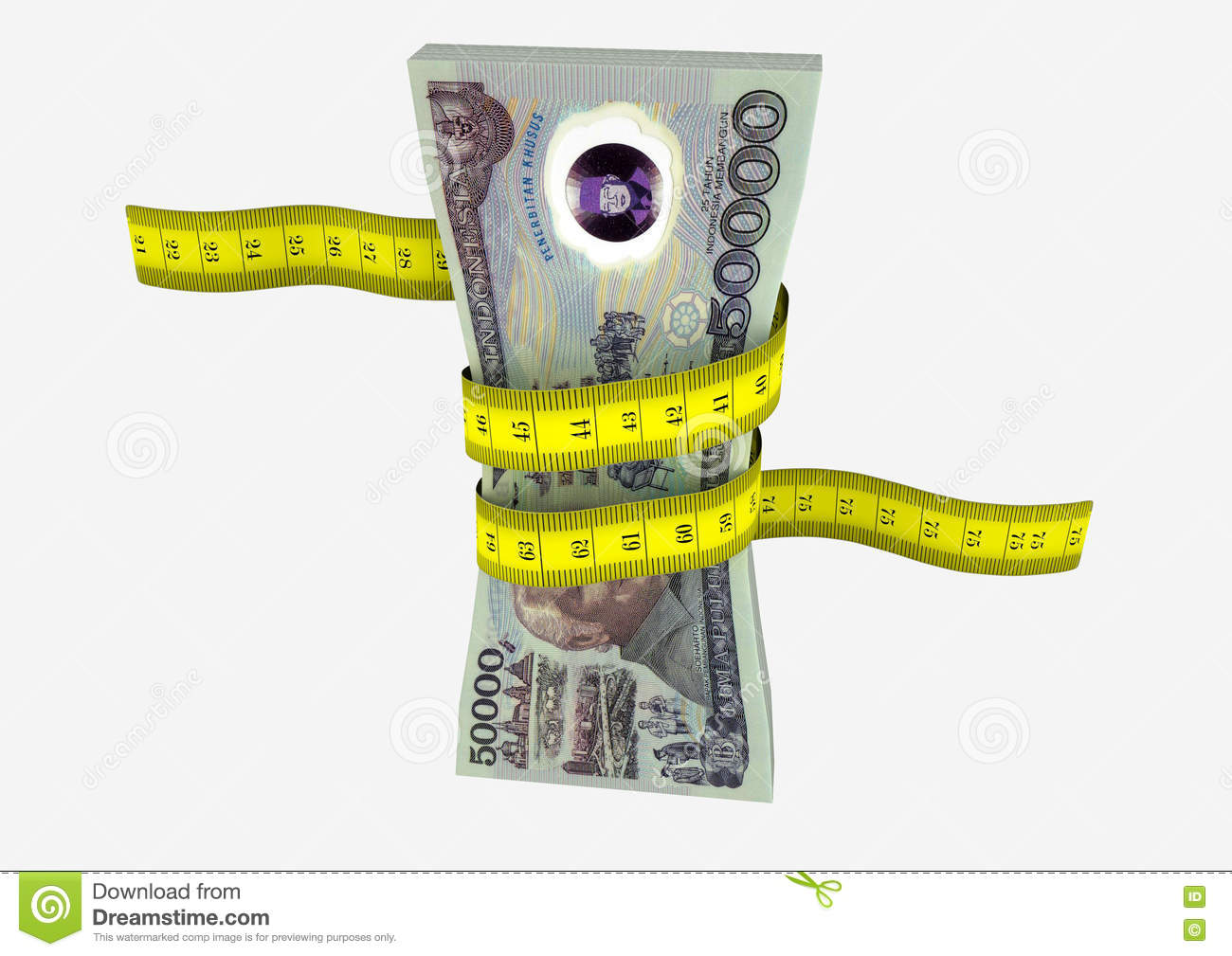 Bangunan 3d 3d Indonesian Currency With Measure Tape Stock Illustration