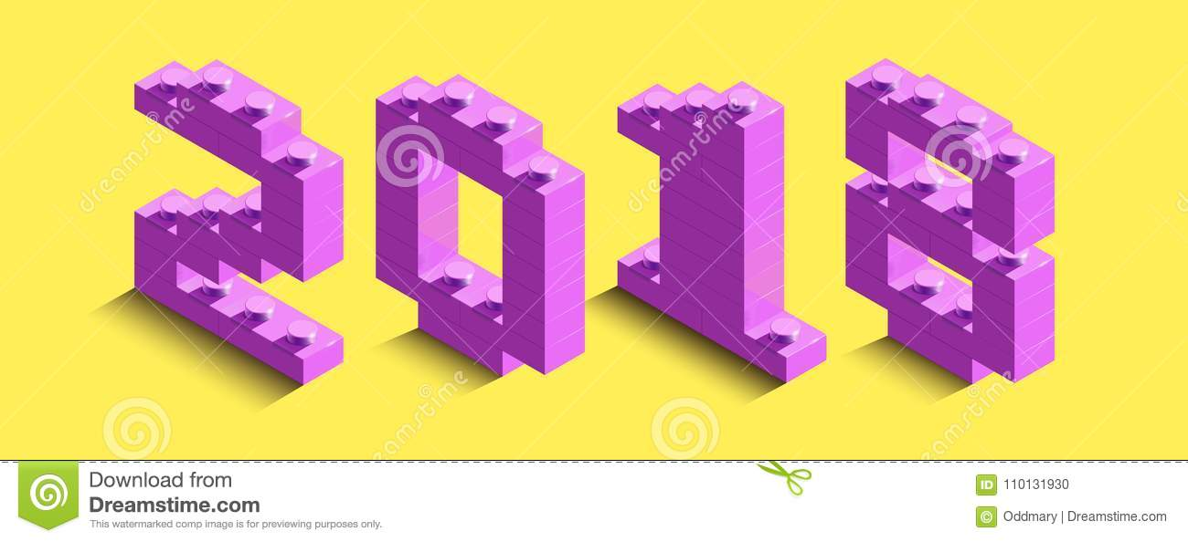 3d Isometric Pink Numbers From Lego Brick On Yellow Background 3d