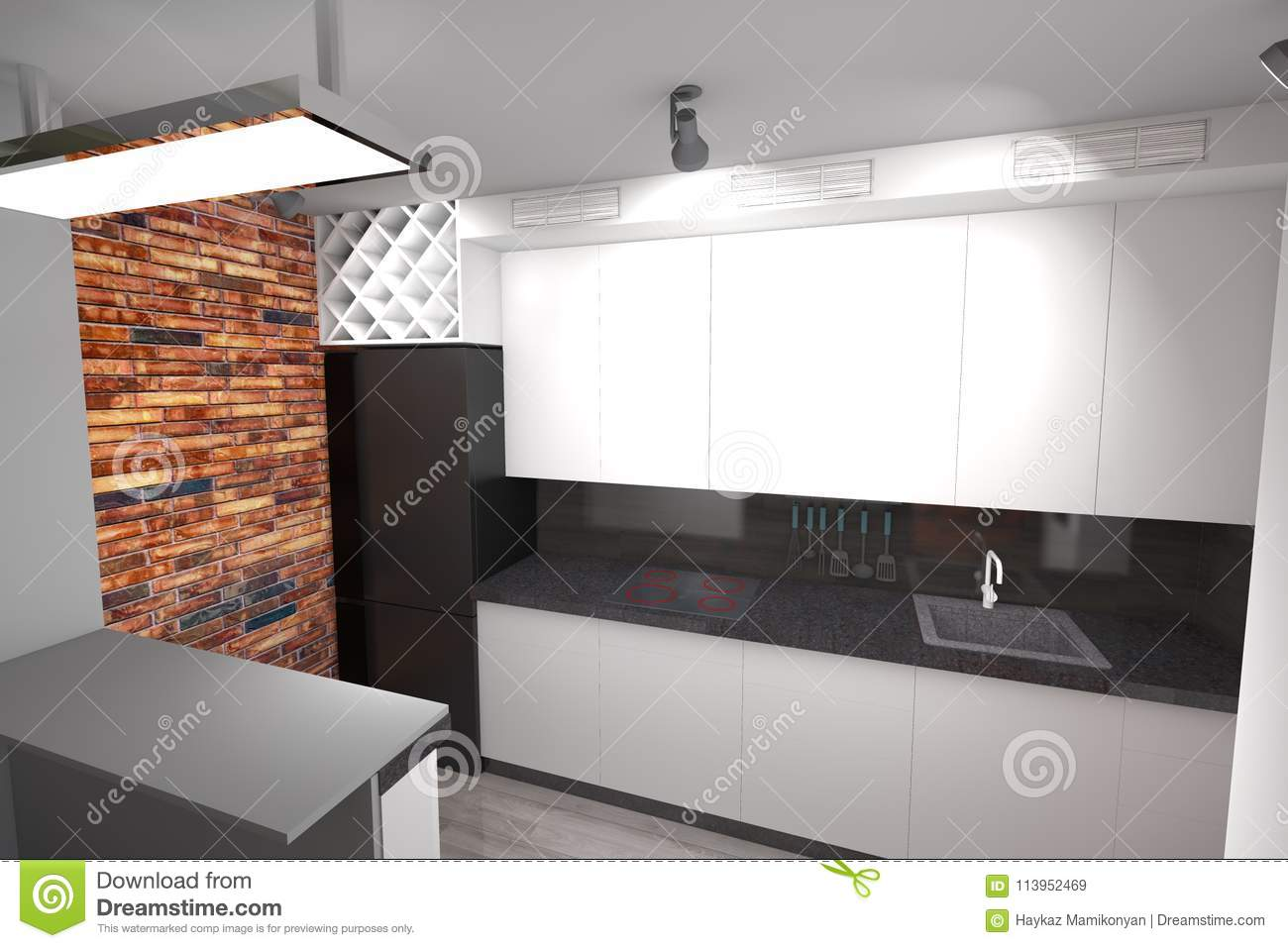 Kitchen Design 3d Model 3d Kitchen Design Modern Stock Illustration Illustration Of Draw