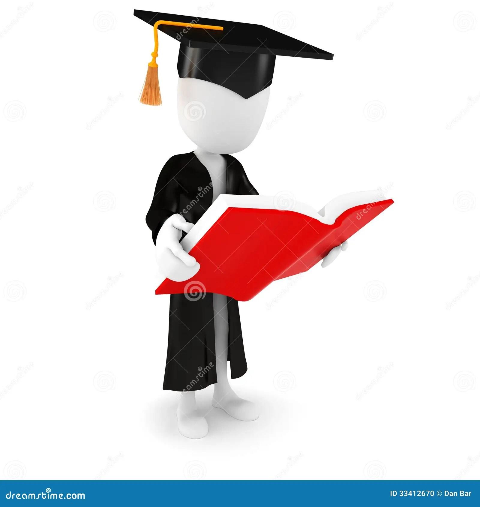 Girl And Boy Cartoon Wallpaper 3d Man Graduate Student Reading A Book Stock Illustration