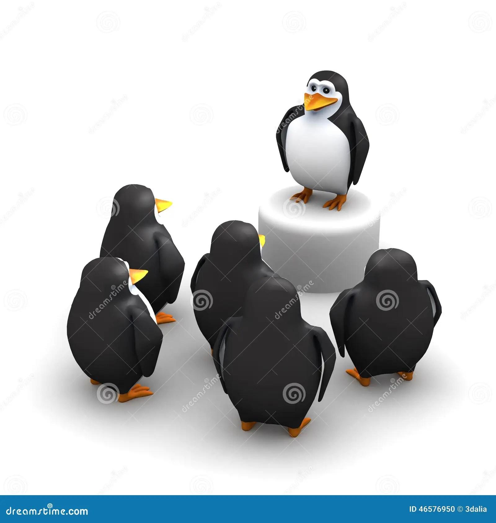 Cute Cartoon Penguins Wallpaper 3d Penguins Listen To Their Leader Stock Illustration