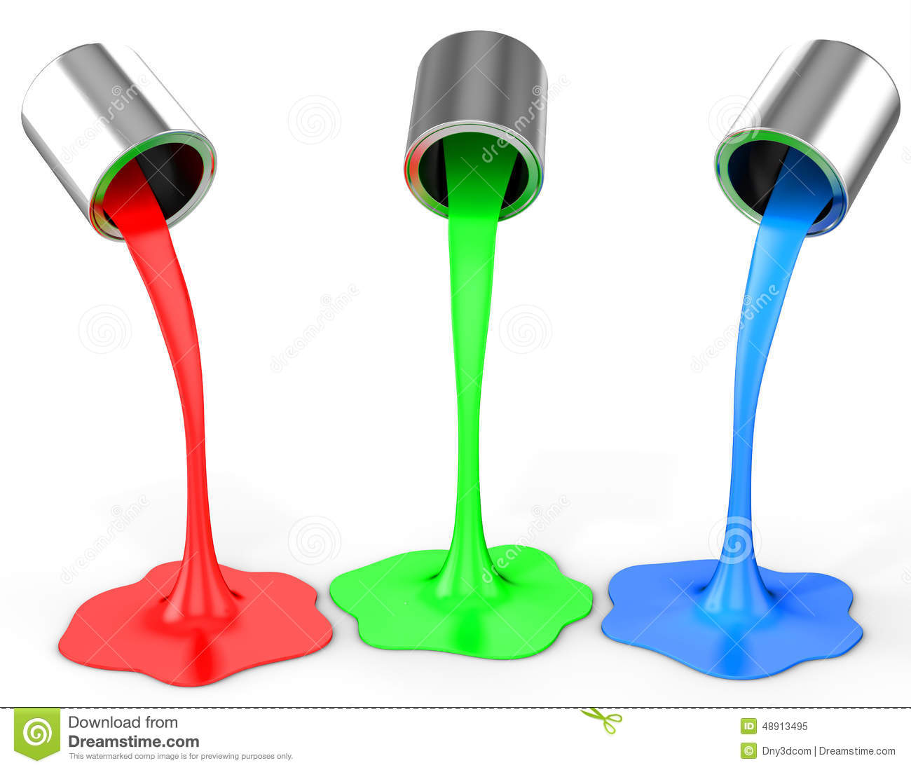 Pouring Pintura 3d Red Green Blue Paint Pouring From Buckets Stock