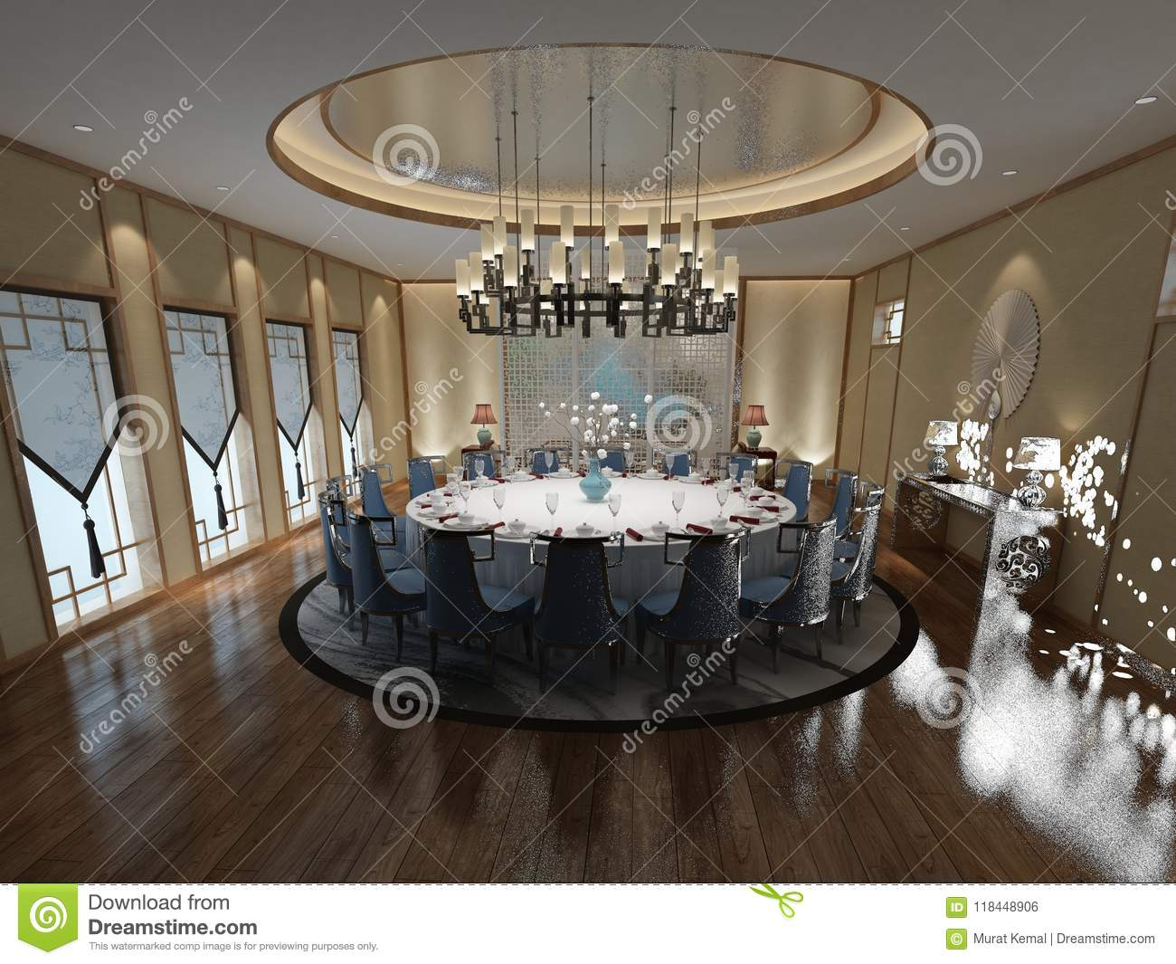 Luxury Dining Room Decor 3d Render Of Luxury Dining Room Stock Illustration Illustration