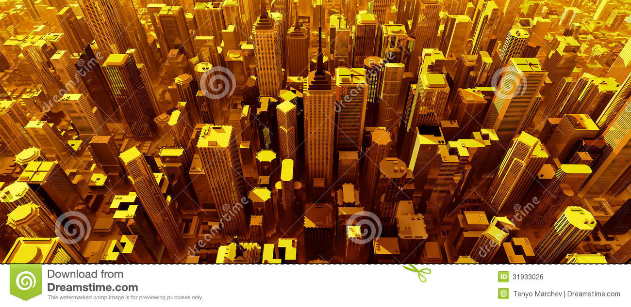 Pure Black Wallpaper 3d Render Of Pure Gold City Stock Illustration Image