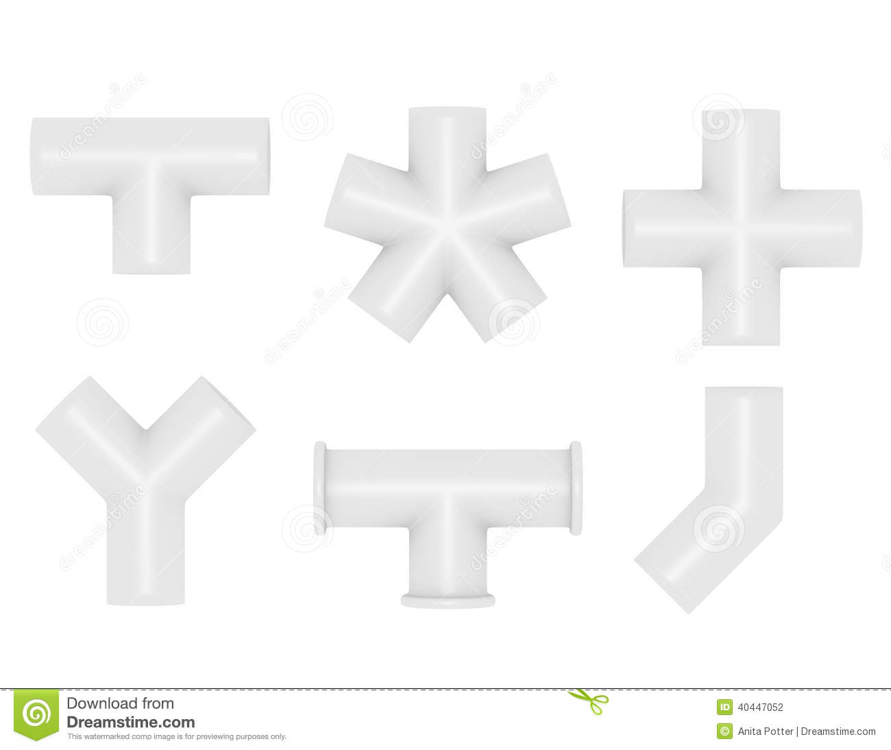 Pvc Joints 3d Render Of Pvc Pipe Joints Stock Illustration Illustration Of
