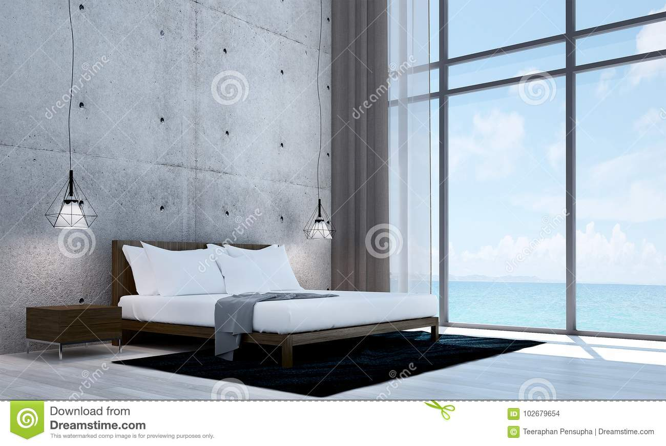 Bedroom White Background The Modern Bedroom Interior Design And White Concrete Wall