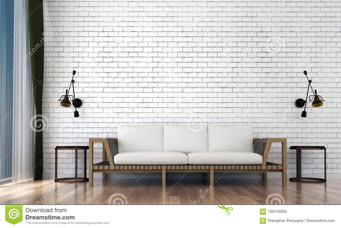 Brick Wall Design The Minimal Living Room Interior Design And White Brick Wall