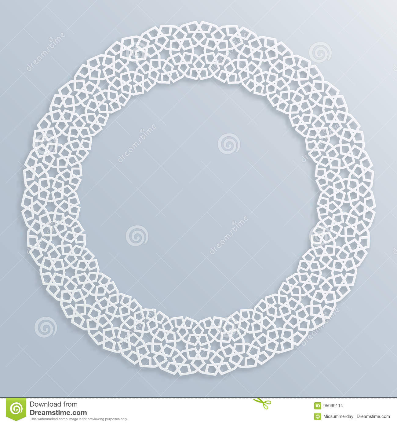 Motif Relief 3d Round White Frame Vignette Islamic Geometric Border Bas