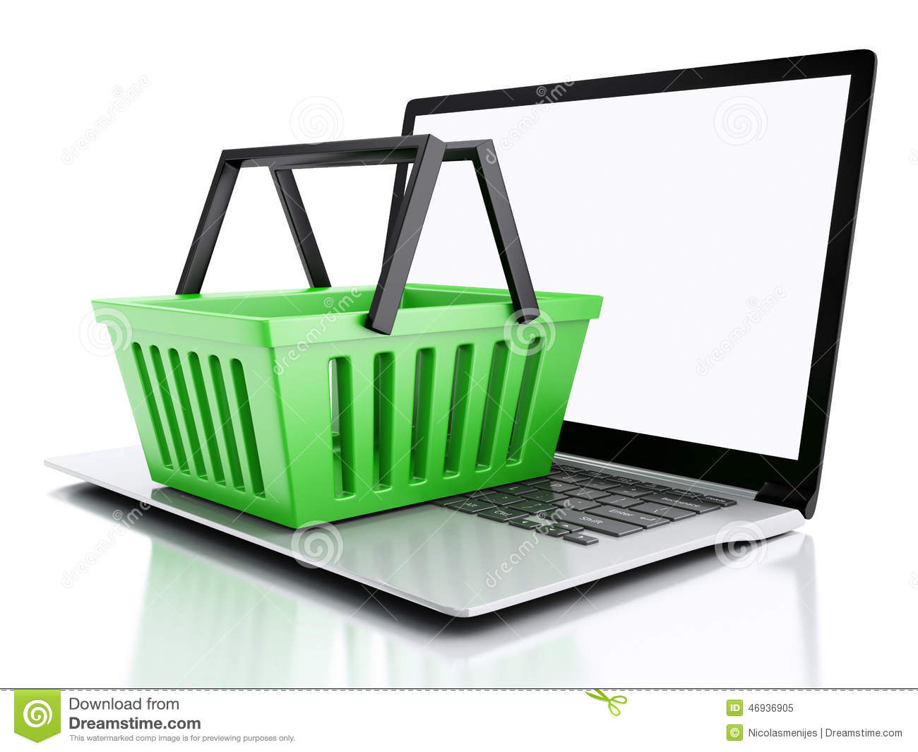 Baskets Online 3d Shopping Basket Online Shopping Concept Stock