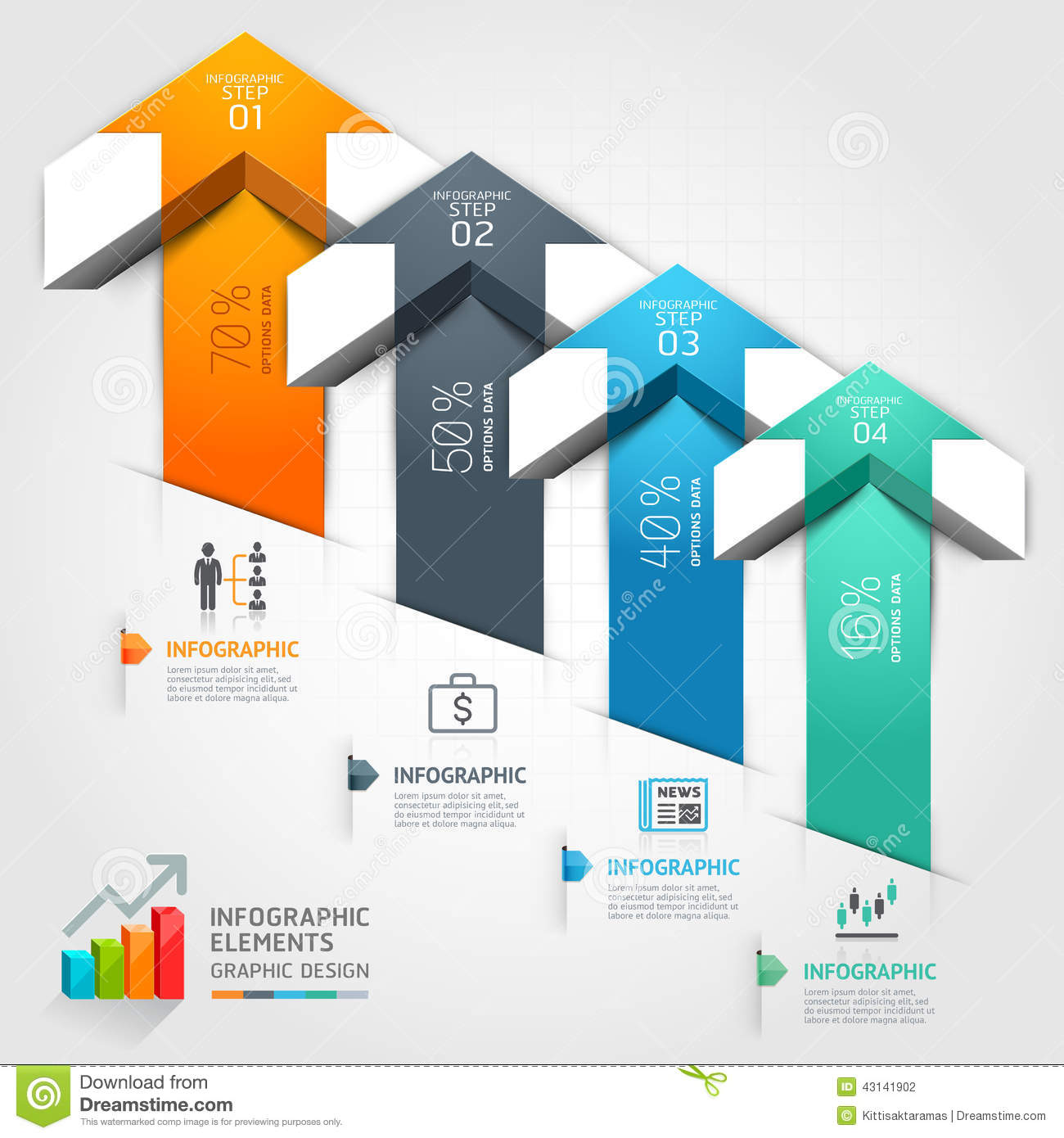 Business Step 3d Step Up Arrow Staircase Diagram Business Vector Illustration