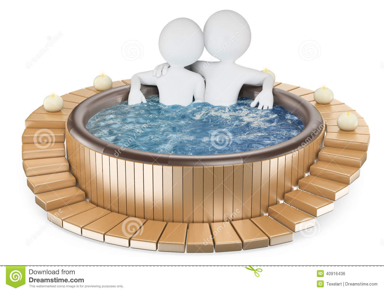 Chakuzi 3d White People. Couple Relaxing In A Jacuzzi Stock