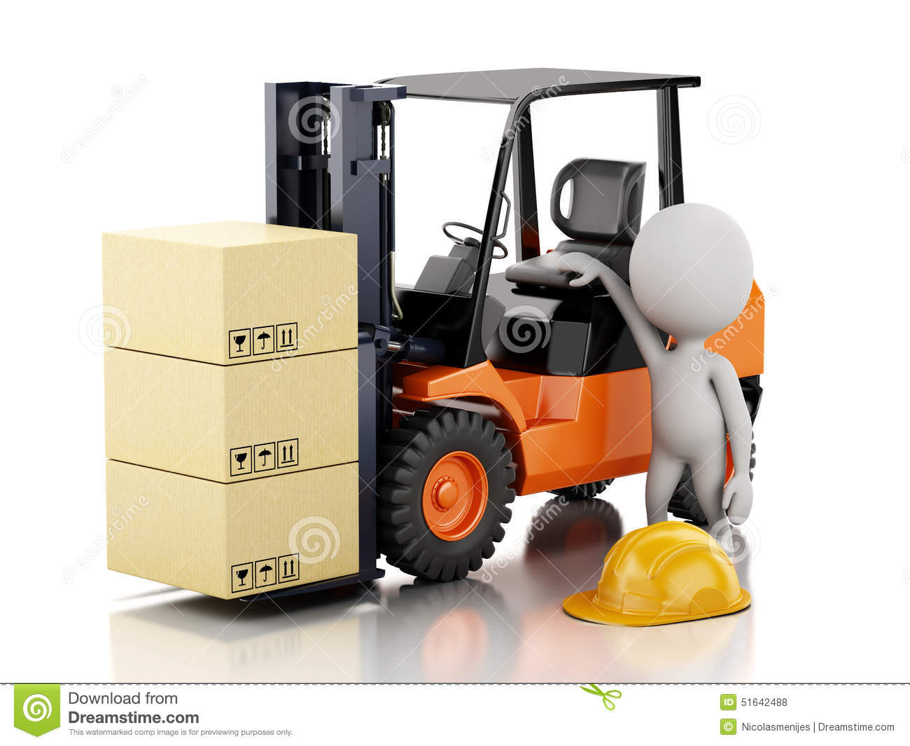 Lagerregal Clipart 3d White People With A Forklift And Cardboard Boxes Stock