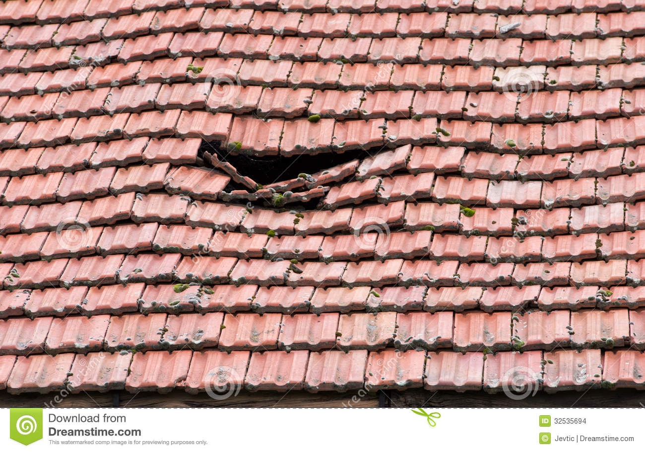 bathroom tiles leaking damaged roof stock images image 32535694 download