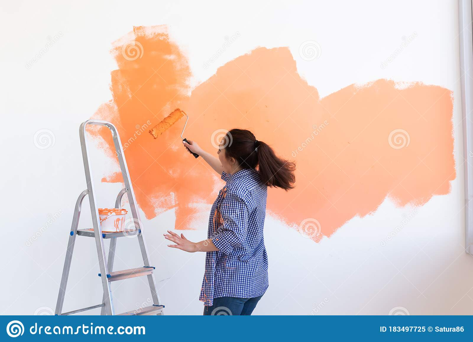 300 Woman Painting Wall Funny Photos Free Royalty Free Stock Photos From Dreamstime