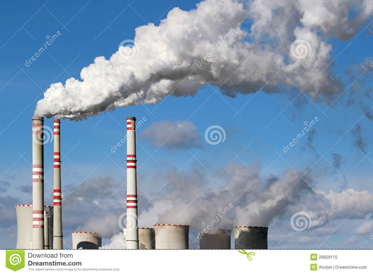 Pollution Cheminées Danger Smoke From Coal Power Plant Chimney Stock Image
